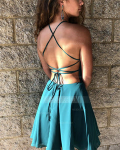 Green Halter Open Back Mini Homecoming Dresses Cocktail Dresses