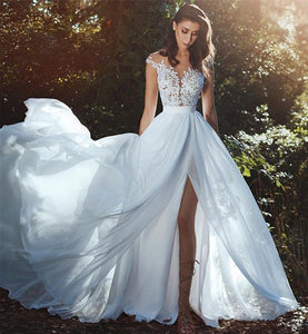 Elegant chiffon beach wedding dresses lace applique wedding dress