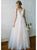 Champagne V Neck Cheap Wedding Dresses Tulle A-line Bridal Dresses