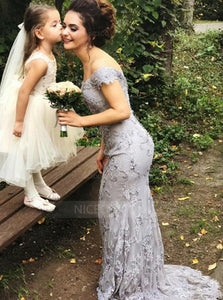 Gray Sweetheart Off Shoulder Long Lace Bridesmaid Dresses