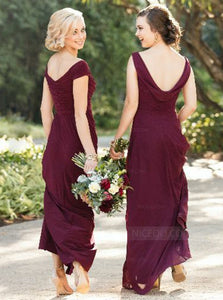 Burgundy Two Styles V Back Long Chiffon Bridesmaid Dresses - NICEOO