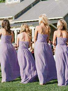 Lilac Strapless Long Chiffon Bridesmaid Dresses - NICEOO