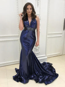 Navy Blue Deep V Neck Mermaid Long Prom Dresses Sequin Military Ball Dresses - NICEOO