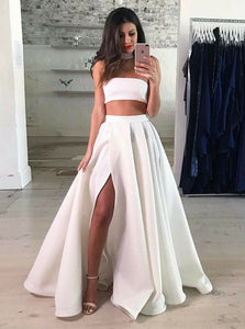 Simple Two Pieces Side Split Long Prom Dresses Evening Dresses