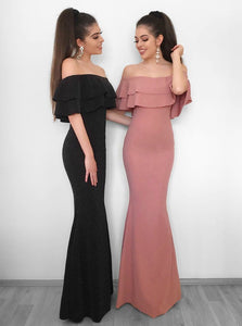 Off Shoulder Long Slim Line Satin Prom Dresses Military Ball Dresses - NICEOO