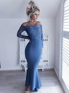 Blue Off Shoulder Long Sleeves Long Satin Prom Dresses Evening Dresses - NICEOO