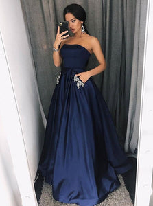 Navy Blue A Line Strapless Long Satin Military Ball Dresses Ball Gowns - NICEOO