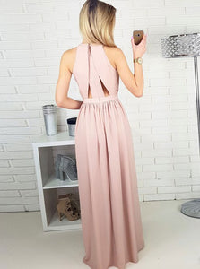Pink A Line Side Split Sleeveless Long Chiffon Prom Dresses Evening Dresses - NICEOO