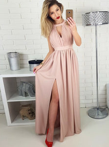 Pink A Line Side Split Sleeveless Long Chiffon Prom Dresses Evening Dresses