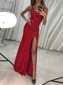 Round Neck Sleeveless Side Split Slim Line Sequin Prom Dresses Evening Dresses