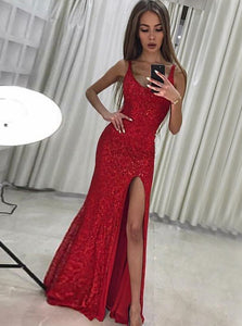Round Neck Sleeveless Side Split Slim Line Sequin Prom Dresses Evening Dresses - NICEOO