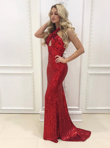 Red Halter Long Sequin Mermaid Prom Dresses Military Ball Dresses - NICEOO