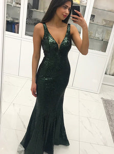 Dark Green Deep V Neck Strap Open Back Long Prom Dresses Military Ball Dresses - NICEOO