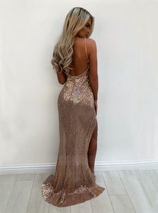 Sexy Deep V Neck Spaghetti Strap Open Back Long Sequin Prom Dresses Evening Dresses - NICEOO