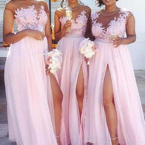 Sexy Pink Sweetheart Sleeveless Side Split A Line Chiffon Evening Dresses Prom Dresses - NICEOO