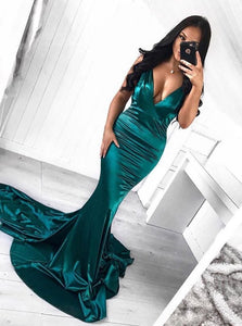 Sexy Deep V Neck Mermaid Long Satin Prom Dresses Evening Dresses - NICEOO