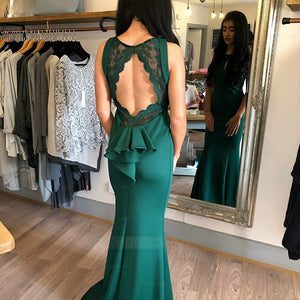 Green Round Neck Open Back Long Mermaid Prom Dresses Evening Dresses