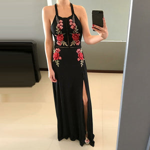 Black Halter Side Split Open Back Satin Prom Dresses Evening Dresses With Embroidery - NICEOO