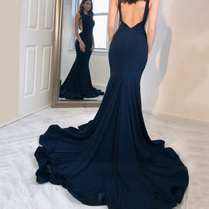 Navy Blue Round Neck Sleeveless Open Back Satin Long Prom Dresses Evening Dresses - NICEOO
