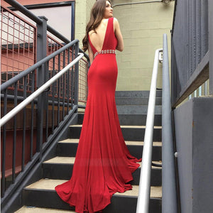 Red Deep V Neck V Back Sleeveless Long Satin Prom Dresses Evening Dresses - NICEOO