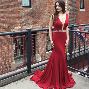 Red Deep V Neck V Back Sleeveless Long Satin Prom Dresses Evening Dresses