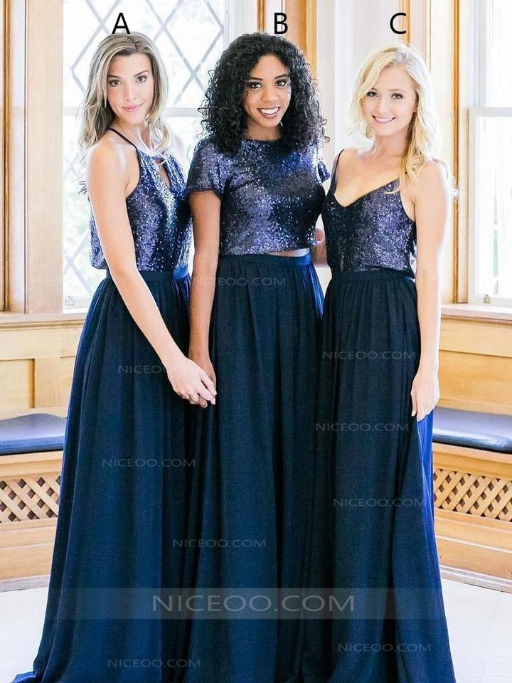 d155bc6664 Sexy Navy Blue A Line Two Pieces Sequin Chiffon Bridesmaid Dresses Evening  Dresses - NICEOO