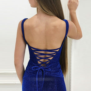 Royal Blue V Neck Sleeveless Open Back Prom Dresses Evening Dresses - NICEOO