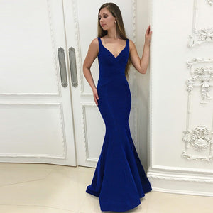 Royal Blue V Neck Sleeveless Open Back Prom Dresses Evening Dresses