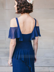 Simple Navy Blue Two Pieces Long Side Split Chiffon Bridesmaid Dress