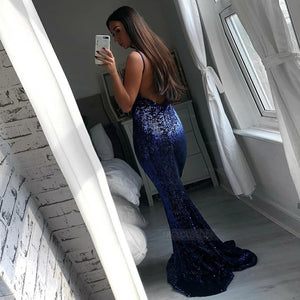 Navy Blue Deep V Neck Spaghetti Strap Open Back Prom Dresses Evening Dresses With Sequin - NICEOO