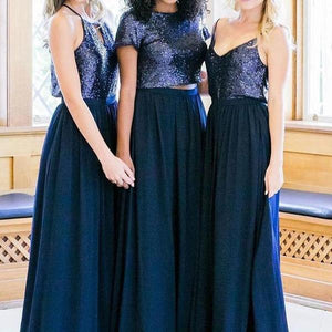 Sexy Navy Blue A Line Two Pieces Sequin Chiffon Bridesmaid Dresses Evening Dresses - NICEOO