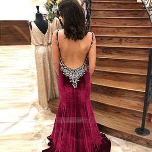 Spaghetti Strap V Neck Open Back Mermaid Long Prom Dresses Evening Dresses With Rhinestones