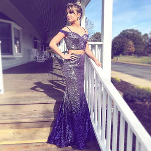 Two Pieces Spaghetti Strap Off Shoulder Slim Line Prom Dresses Evening Dresses