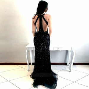 Black Deep V Neck Open Back Mermaid Long Prom Dresses Evening Dresses With Sequin - NICEOO