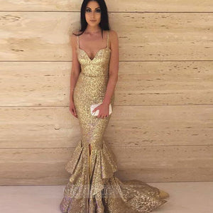 Gold Spaghetti Strap Sweetheart Mermaid Prom Dresses Evening Dresses With Sequin