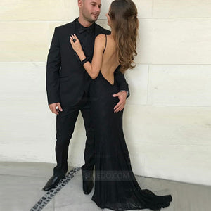 Black Halter Open Back Slim Line Prom Dresses Evening Dresses With Lace - NICEOO