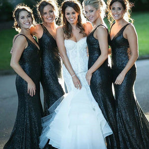 Slim Line V Neck Sleeveless Long Sequin Bridesmaid Dresses