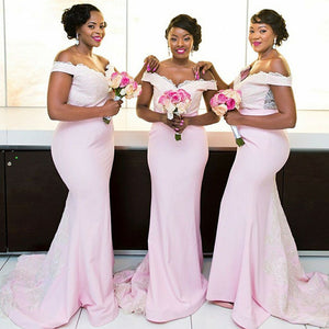 Light Pink Off Shoulder Sweetheart Slim Line Bridesmaid Dresses