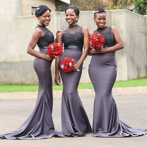 Dark Gray Round Neck Sleeveless Slim Line Bridesmaid Dresses - NICEOO