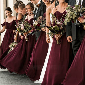 Burgundy Spaghetti Strap Off Shoulder Long Chiffon Bridesmaid Dresses - NICEOO