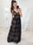 Black V-Neck Long Prom Dresses Sexy  A-Line Lace Evening Dresses