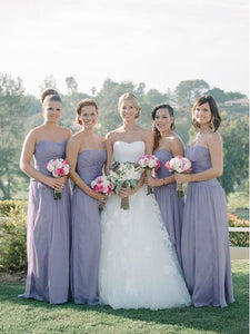 Sexy Purple A Line Strapless Empire Waist Long Chiffon Bridesmaid Dresses Evening Dresses - NICEOO