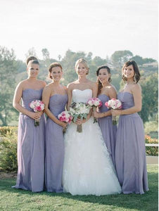 Sexy Purple A Line Strapless Empire Waist Long Chiffon Bridesmaid Dresses Evening Dresses