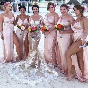 Pink Halter Slim Line V Neck Side Split Long Bridesmaid Dresses - NICEOO