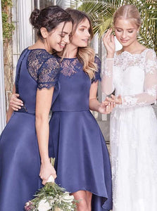 Blue Round Neck Short Sleeves High Low Satin Bridesmaid Dresses