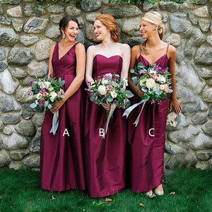 Purple Three Styles A Line Sleeveless Satin Bridesmaid Dresses - NICEOO