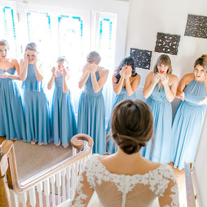 Blue Seven Styles A Line Sleeveless Chiffon Bridesmaid Dresses - NICEOO