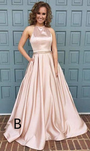 A-line Beaded Satin Evening Prom Dress Women's Halter Long Formal Gown