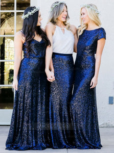 Simple Navy Blue Three Styles Long Bridesmaid Dress With Sequin