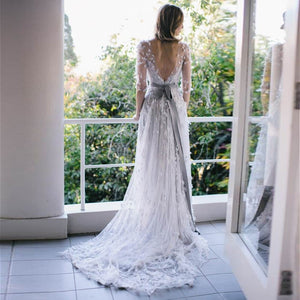 White Round Neck Half Sleeves V Back Lace Long Bride Gown Wedding Dresses
